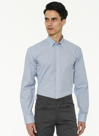 Beymen Business 4B2020100067 Mavi Regular Fit Gömlek Armürlü Mavi